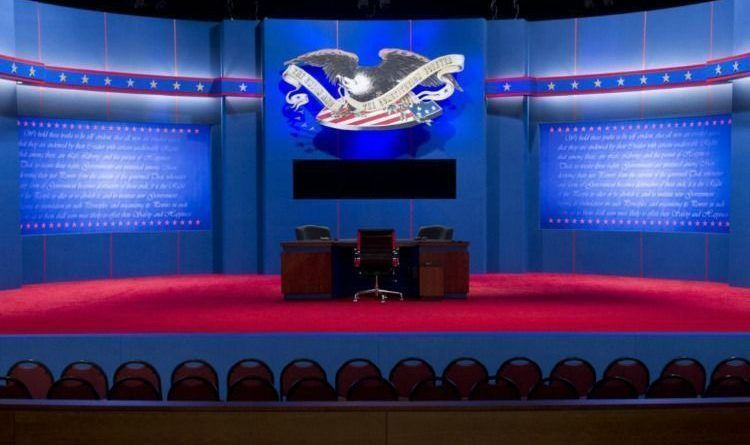 The stage is set for the final presidential debate at Lynn University in Boca Raton, Florida, October 22, 2012. US President Barack Obama and Republican Presidential candidate Mitt Romney will meet later tonight for the final time in a debate focusing on foreign policy. AFP PHOTO / Saul LOEBSAUL LOEB/AFP/Getty Images