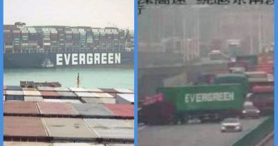 "Photos Of A Shipping Container ""Evergreen"" Goes Viral As It Cause A Huge Traffic Jam On China's Busiest Highway, Days After The Ship ""Evergreen"" Blocked The Suez Canal"